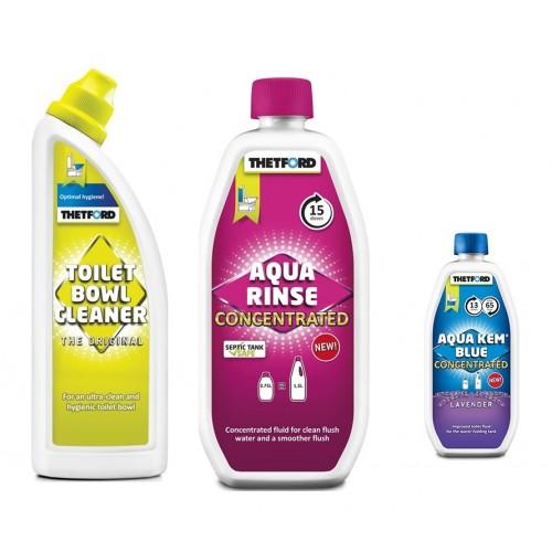 3 lü Kimyasal Set(Aqua Rinse Pembe, Aqua Kem Blue Konsantre Lavaner, Klozet Temizleyici)