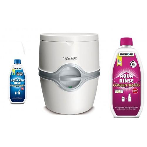 Portatif Tuvalet Porta Potti 565E( Aqua Kem Blue Konsanre, Aqua Rinse Pembe)